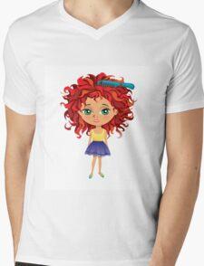 Redhead girl standing with hair brush Mens V-Neck T-Shirt