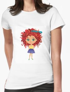 Redhead girl standing with hair brush Womens Fitted T-Shirt