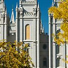 Salt Lake Temple Autumn Gold 20x30 by Ken Fortie