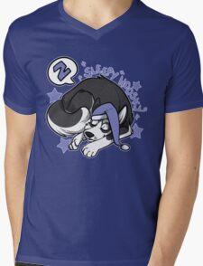 Sleepy Hoosky Mens V-Neck T-Shirt