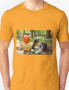 Sheltie With Pumpkins Unisex T-Shirt
