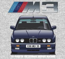 BMW E30 M3 25th Anniversary (Macau Blue) White Text by Sharknose
