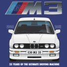 BMW E30 M3 25th Anniversary (Alpine White) White Text by Sharknose