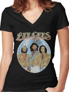 Bee Gees DISCO BALL Women's Fitted V-Neck T-Shirt