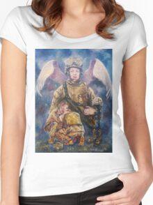 Fallen Soldier Angel Print Women's Fitted Scoop T-Shirt