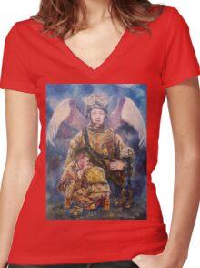Fallen Soldier Angel Print Women's Fitted V-Neck T-Shirt