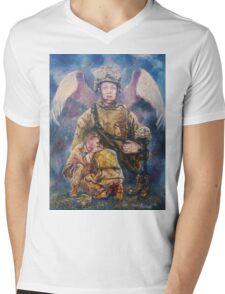 Fallen Soldier Angel Print Mens V-Neck T-Shirt