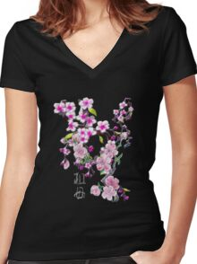 Japanese Cherry Blossoms Women's Fitted V-Neck T-Shirt