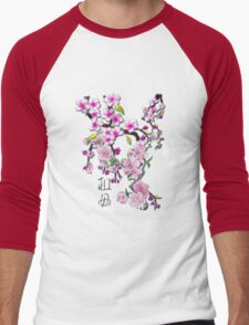 Japanese Cherry Blossoms Men's Baseball ¾ T-Shirt