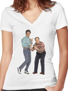 George and Jerry Women's Fitted V-Neck T-Shirt