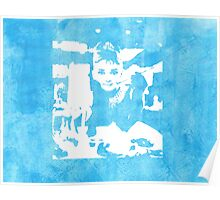 Audrey Hepburn Iconic Breakfast at Tiffany's Watercolour Blue   Poster