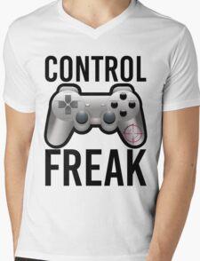Control Freak Pun Video Game Controller Gamers Mens V-Neck T-Shirt
