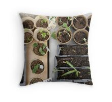 "LONDON GARDEN 7 ~ ""WITH THE RIGHT TOOLS THE CYCLE OF LIFE WILL GROW AGAINST ALL ODD'S"" Throw Pillow"