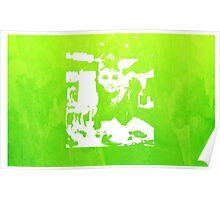 Audrey Hepburn Iconic Breakfast at Tiffany's Watercolour Green    Poster