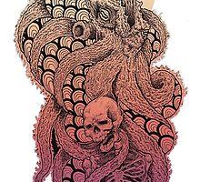 SQUID OCTOPUS SKULL CREAM YELLOW ORANGE PINK PURPLE  by SourKid