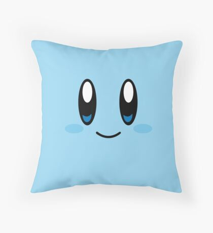 Kirby Face (Blue) Throw Pillow
