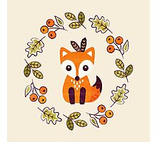 Little Fox with Autumn Berries Photographic Print
