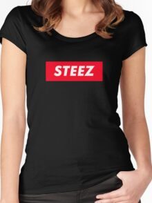 CAPITAL STEEZ SUPREME CLOTHING BRAND LOGO Women's Fitted Scoop T-Shirt