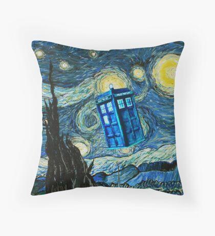 British Blue phone box painting Throw Pillow