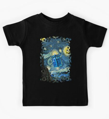 British Blue phone box painting Kids Tee
