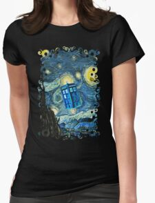 British Blue phone box painting Womens Fitted T-Shirt