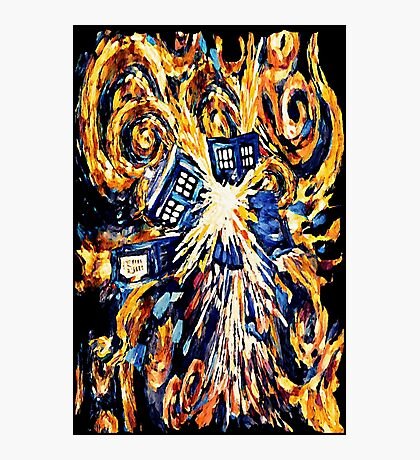 Big Bang Attack Exploded Flamed Phone booth painting Photographic Print