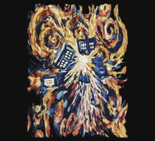 Big Bang Attack Exploded Flamed Phone booth painting One Piece - Short Sleeve
