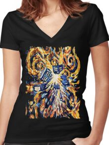 Big Bang Attack Exploded Flamed Phone booth painting Women's Fitted V-Neck T-Shirt