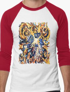 Big Bang Attack Exploded Flamed Phone booth painting Men's Baseball ¾ T-Shirt