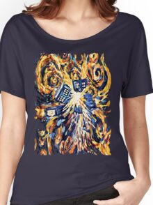 Big Bang Attack Exploded Flamed Phone booth painting Women's Relaxed Fit T-Shirt