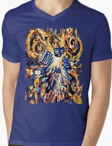 Big Bang Attack Exploded Flamed Phone booth painting Mens V-Neck T-Shirt