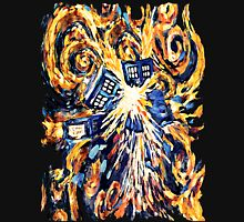 Big Bang Attack Exploded Flamed Phone booth painting Womens Fitted T-Shirt