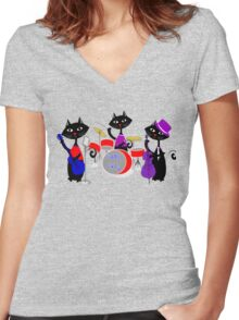 Cool For Cats Music Themed Women's Fitted V-Neck T-Shirt