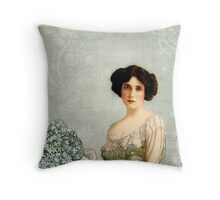 Woman with Forgetmenots Throw Pillow