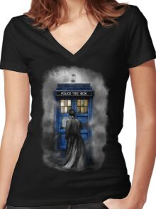 Mysterious Time traveller with Black suit Women's Fitted V-Neck T-Shirt