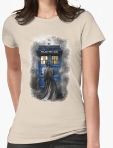 Mysterious Time traveller with Black suit Womens Fitted T-Shirt