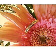 Flowers & Wedding Ring Photographic Print