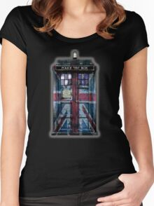 British Union Jack Space And Time traveller Women's Fitted Scoop T-Shirt