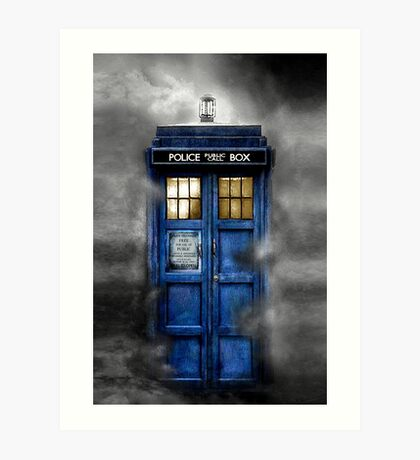 Haunted blue phone booth Art Print