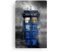 Haunted blue phone booth Metal Print