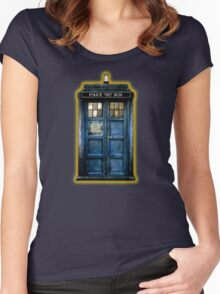 Space And Time traveller Box With yellow stained glass Women's Fitted Scoop T-Shirt