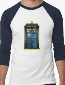 Space And Time traveller Box With yellow stained glass Men's Baseball ¾ T-Shirt