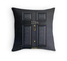 Black Door with 221b number Throw Pillow