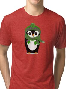 Penguin Hat, Scarf and Mittens Tri-blend T-Shirt