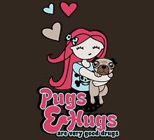 Pugs and Hugs Womens Fitted T-Shirt