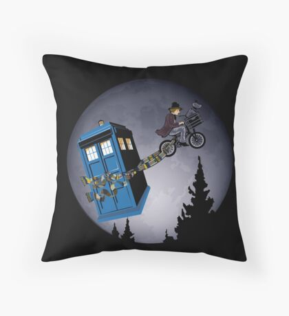 Fourth Doctor Fly With Bicycle Throw Pillow