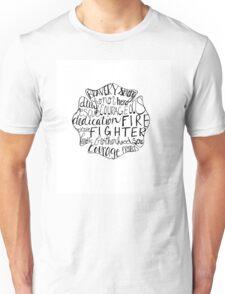 Hand Lettered-Fire Fighter Maltese Cross Unisex T-Shirt