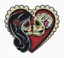 Ashes - Day of the Dead Couple - Sugar Skull Lovers Baby Tee