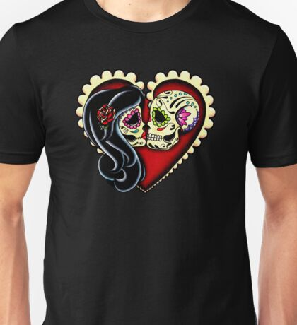 Ashes - Valentine's Day of the Dead Couple - Sugar Skull Lovers Unisex T-Shirt