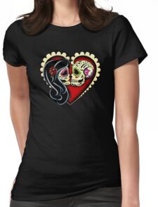 Ashes - Day of the Dead Couple - Sugar Skull Lovers Womens Fitted T-Shirt